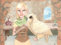 elf falconer with owl watercolor illustration by tawnya boe art