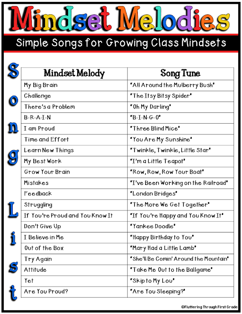 Growth Mindset Songs for the Primary Classroom