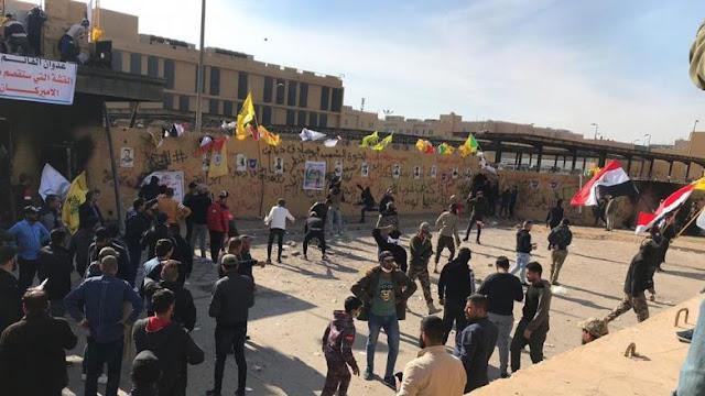 قوات أمن في سفارة أمريكا ببغداد تطلق الرصاص المطاطي صوب محتجين