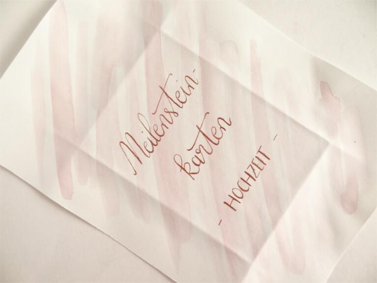 DIY Schachtel für Meilensteinkarten Hochzeit DIY-Braut DIY-Hochzeit rosa kupfer