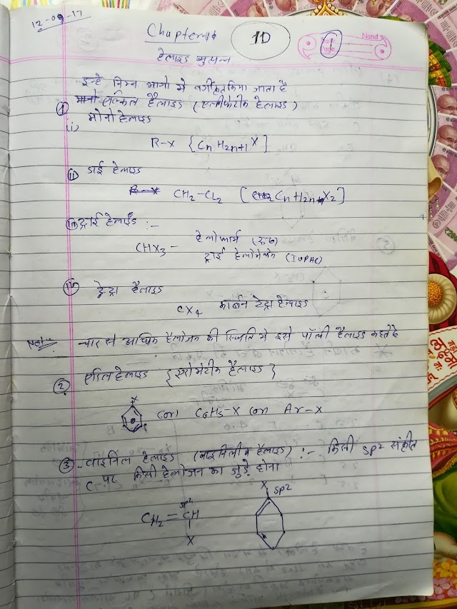 हैलोजन उत्पन्न 12th Class Chemistry Notes In Hindi Pdf Download | Halogen derivatives chapter no 10