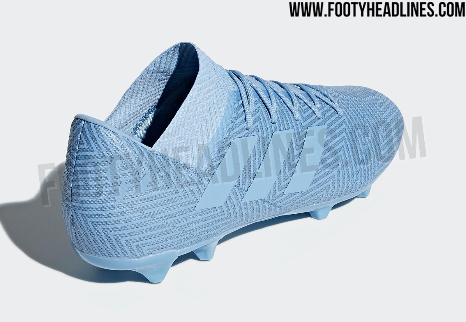 Powder Blue Adidas Nemeziz Messi 2018-19 Spectral Mode Boots Leaked ... 8f6638ce1
