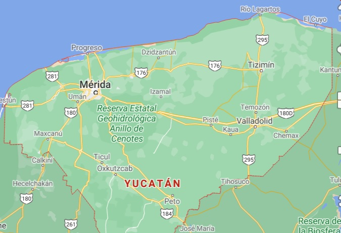 Estado de Yucatan en vista aerea junto al Golfo de Mexico