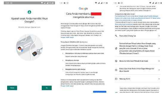 Tampilan Google Family Link Untuk Orang Tua