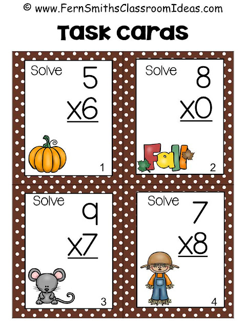 Fern Smith's Classroom Ideas Fall Multiplication and Division Task Cards and Printables at TeacherspayTeachers. Perfect for Back to School or Autumn.