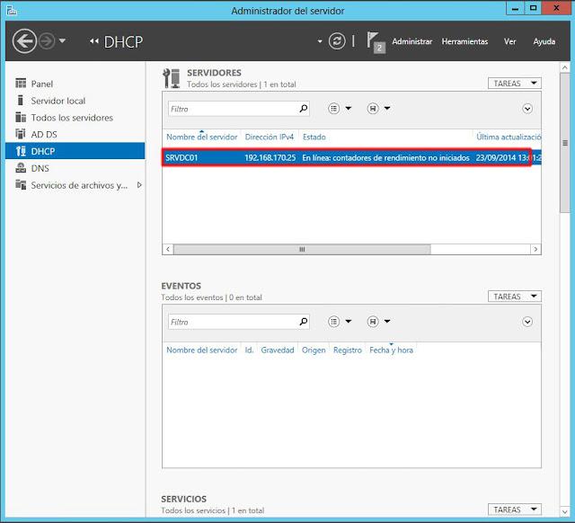 ventana de Administrador del servidor y seleccionaremos, en el menú lateral izquierdo de la consola, la opción DHCP y buscaremos el la ventana central el nombre de nuestro servidor.