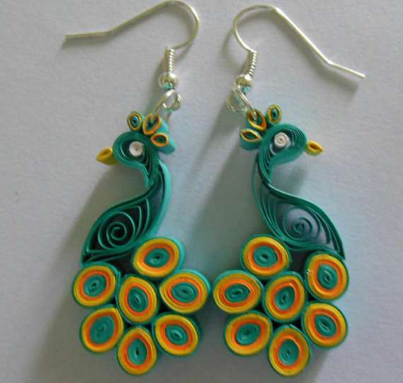 Quilling Earrings Designs Images : Peacock Quilling Earring Jewellery Designs 2015 - Quilling designs