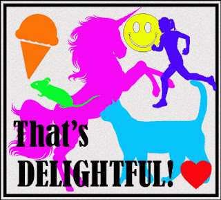 "Graphic reading ""That's DELIGHTFUL!"" with multicolored silhouettes of an ice cream cone, mouse, smiley face, runner, cat, unicorn, and heart"