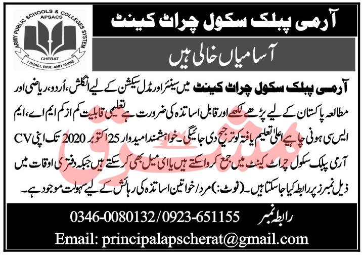 Army Public School Job Advertisement in Pakistan