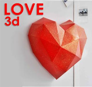 Patung Hati Dekorasi Dinding Kertas 3D Papercraft