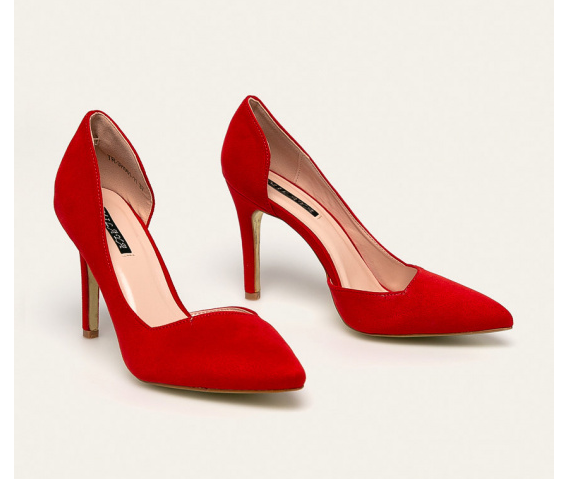 Pantofi rosii decupati pe interior de ocazii cu tocu inalt ieftini