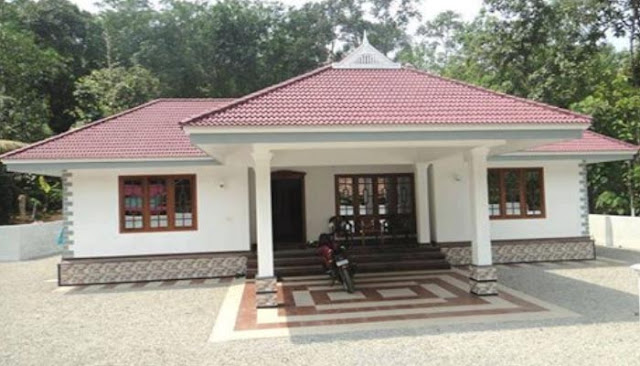 Cute 3 bedroom low budget kerala home in 1100 sq ft free for Small house design kerala style