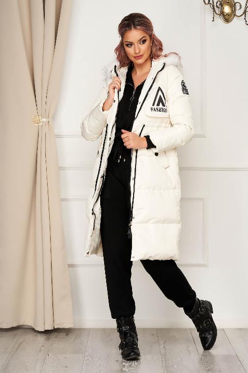 Geaca dama fashion alba casual midi de iarna