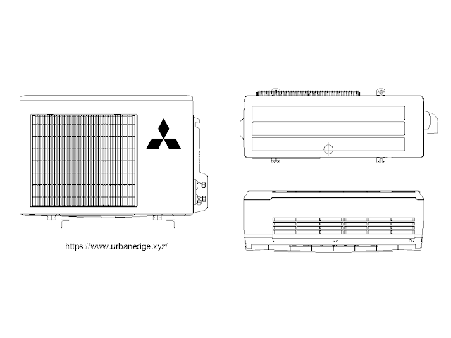 Mitsubishi air conditioner free dwg cad block download