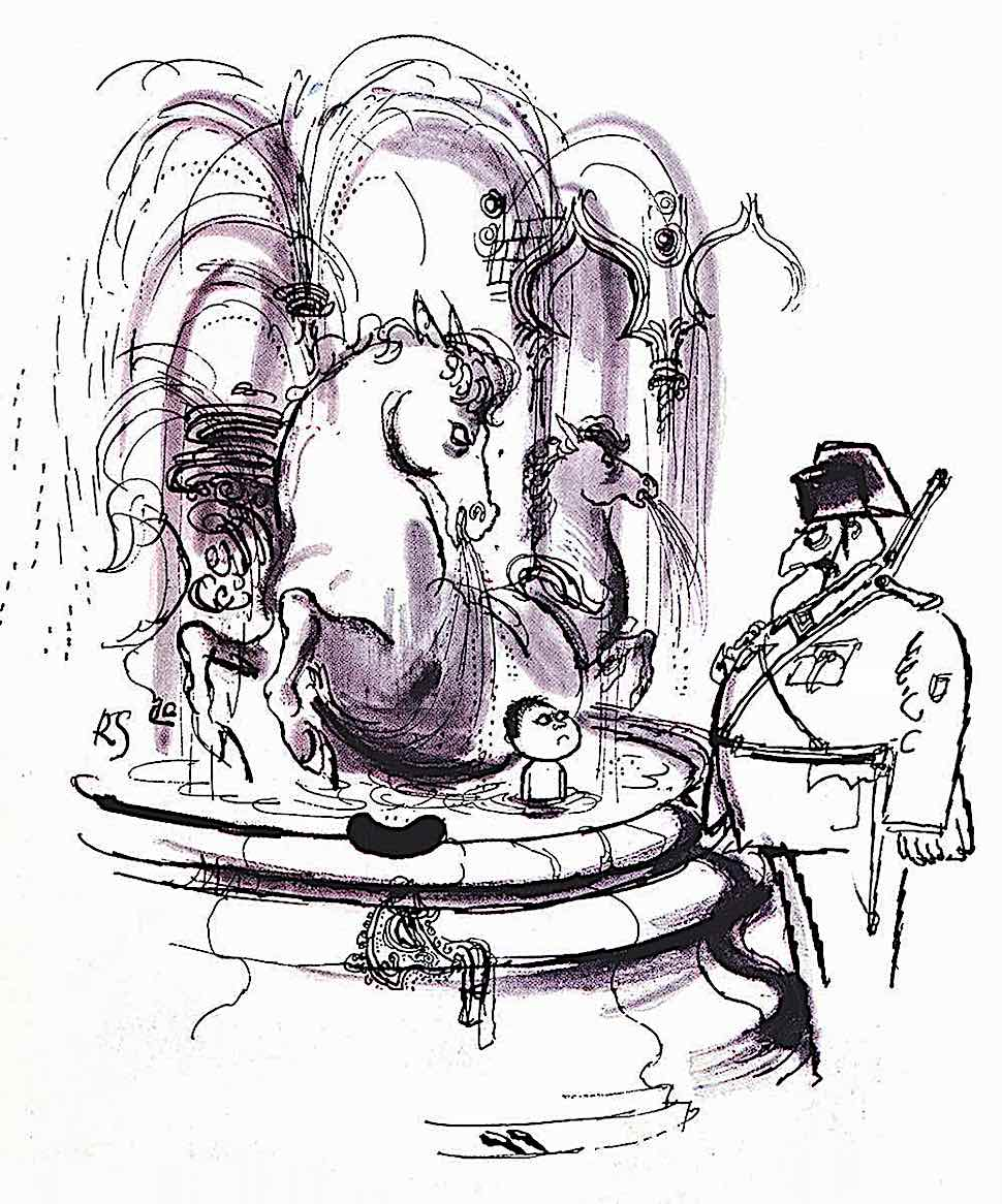 a Ronald Searle drawing of a boy playing in a fountain and an angry guard