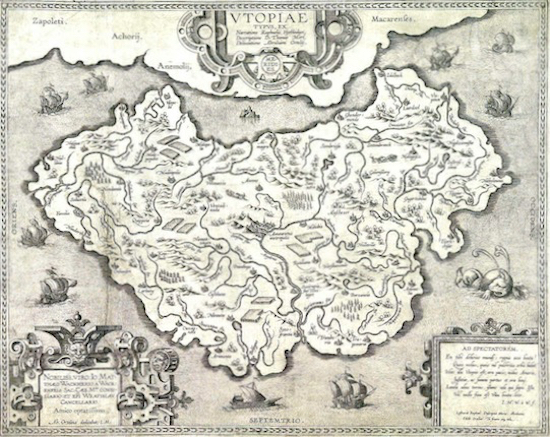Map of More's Utopia by Abraham Ortelius (1527–1598) Released in the public domain, via Wikimedia Commons