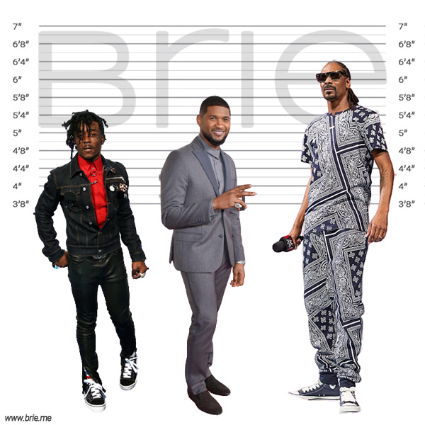 Usher height comparison with Lil Uzi Vert and Snoop Dogg