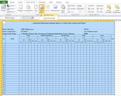 Set print area file excel yang akan diprint