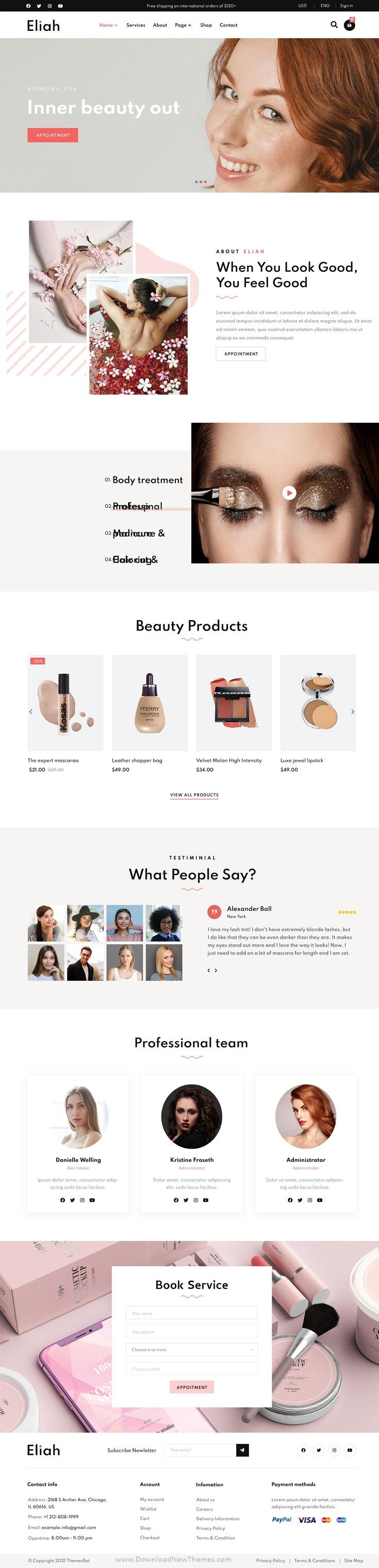 Beauty Salon & Cosmetic Elementor Template Kit