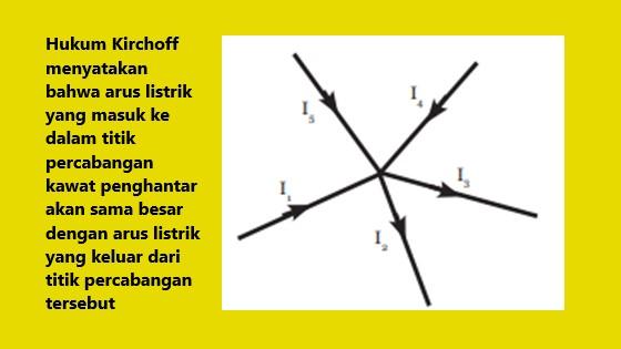 hukum I kirchoff menjelaskan tentang arus listrik yang masuk pada titik percabangan akan sama dengan arus listrik yang keluar dari titik percabangan