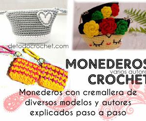 Monederos con Cremallera a Crochet | 4 tutoriales