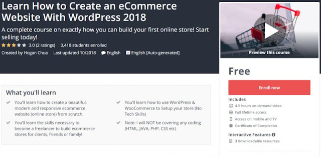 [100% Free] Learn How to Create an eCommerce Website With WordPress 2018