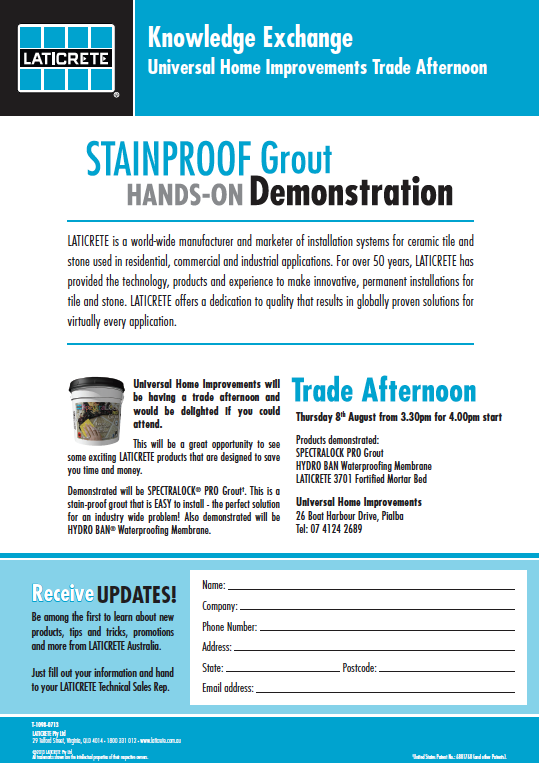Reuben Craig Laticrete Australia Qld Technical S Rep Will Be Demonstrating Spectralock The Stainproof Grout At Universal Home