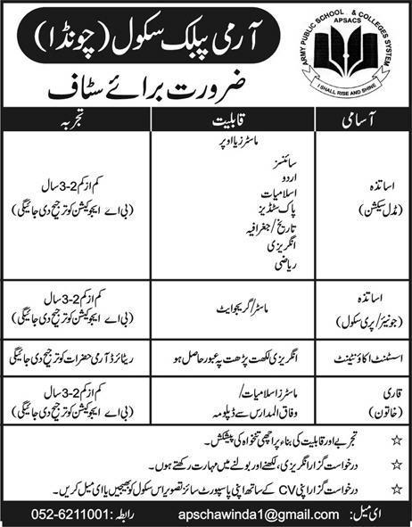 Jobs In Army Public School APS jobs 2019