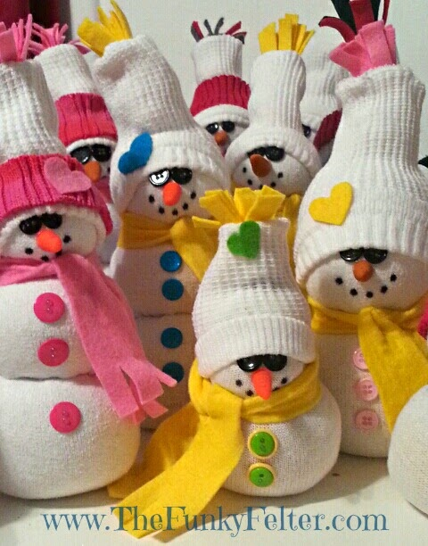 sock snowman craft tutorial by the funky felter
