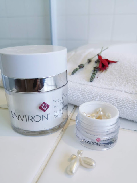 environ focus care hydrating oil capsules and revival masque