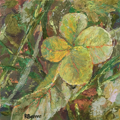 mixed media painting of clover by Robie Benve