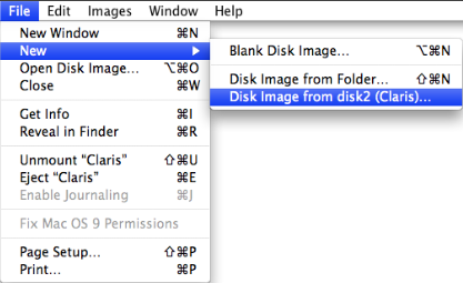 Selecting the 'Disk Image from disk2 (Claris)...' New option under the File menu