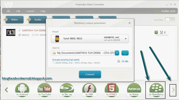 cara format video blackberry