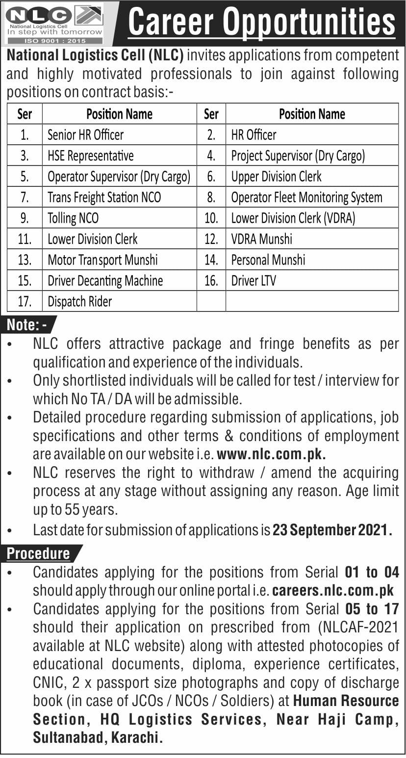 NLC | Latest National Logistics Cell Recruitment Jobs 2021
