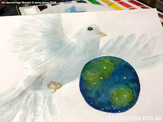 watercolour painting featuring a dove and the Earth by Jenny James
