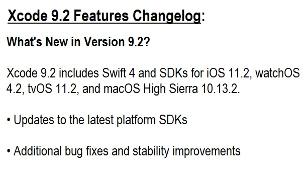 Xcode 9.2 Features Changelog