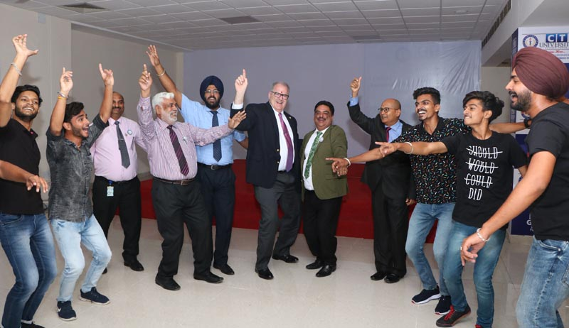 Delegates from Lincoln University while performing Bhangra with CT University students