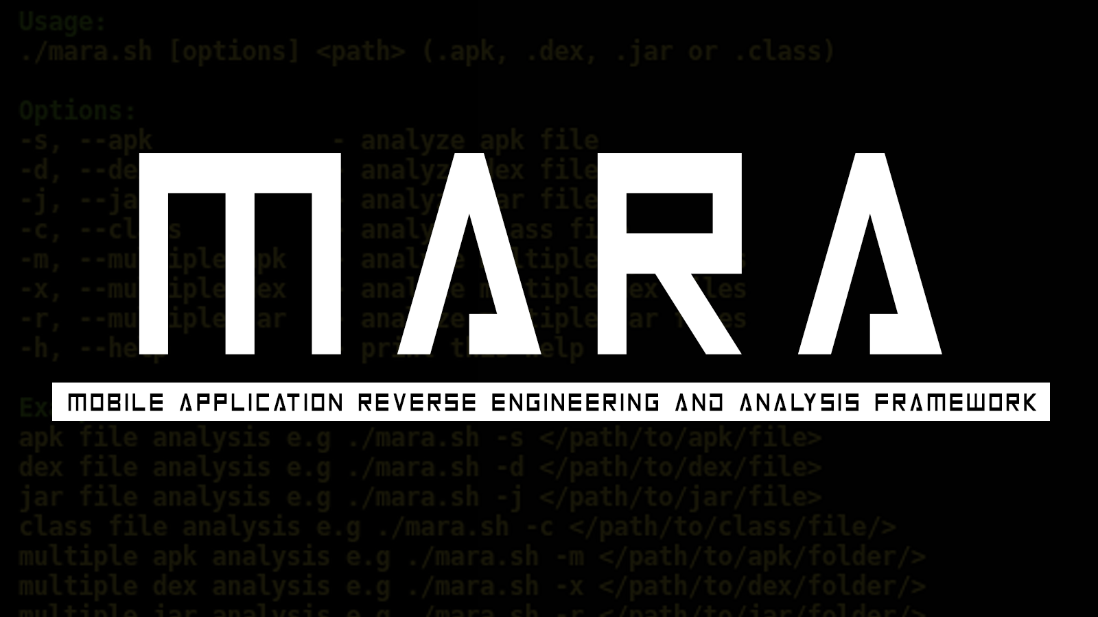 MARA - A Mobile Application Reverse Engineering and Analysis Framework