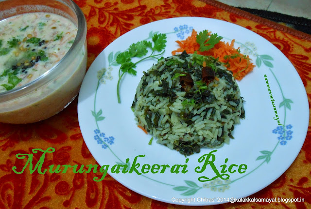 Murungaikeerai Rice with Onion Curd Salad