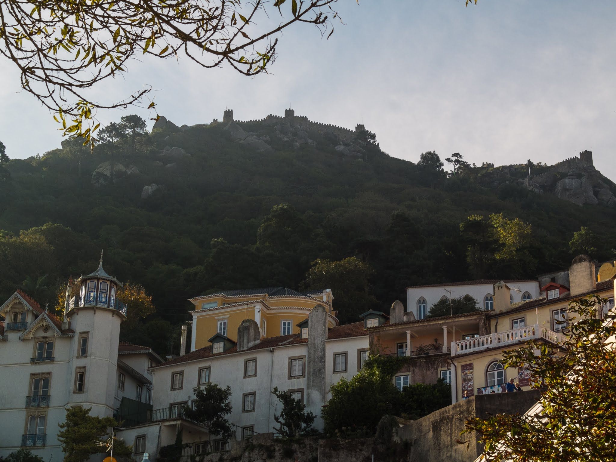 View of The Moor Castle on top of a mountain in Sintra, Portugal.