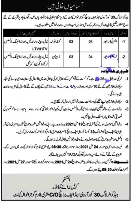 Latest Jobs in Headquarters Log 30 Corps Rv&F Branch Gujranwala 2021