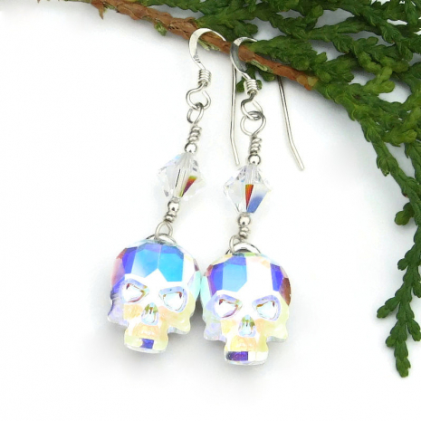 dia de los muertos day of the dead swarovski crystal skull earrings