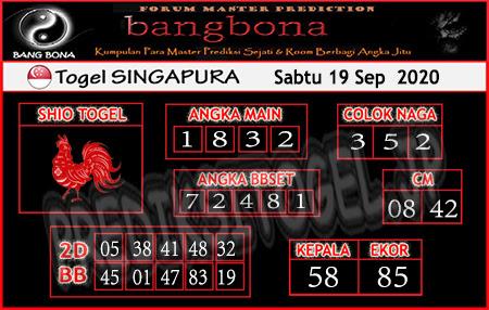 Prediksi Bangbona SGP Sabtu 19 September 2020