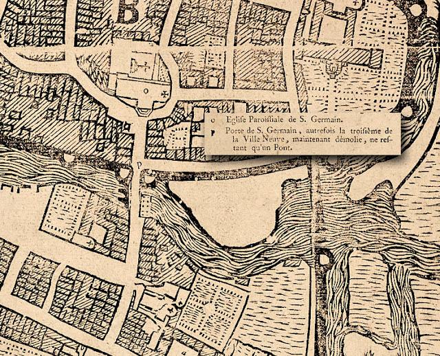 Le plan du quartier par Hévin vers 1690... La rue Saint-Germain, le porte fortifiée et les des remparts...