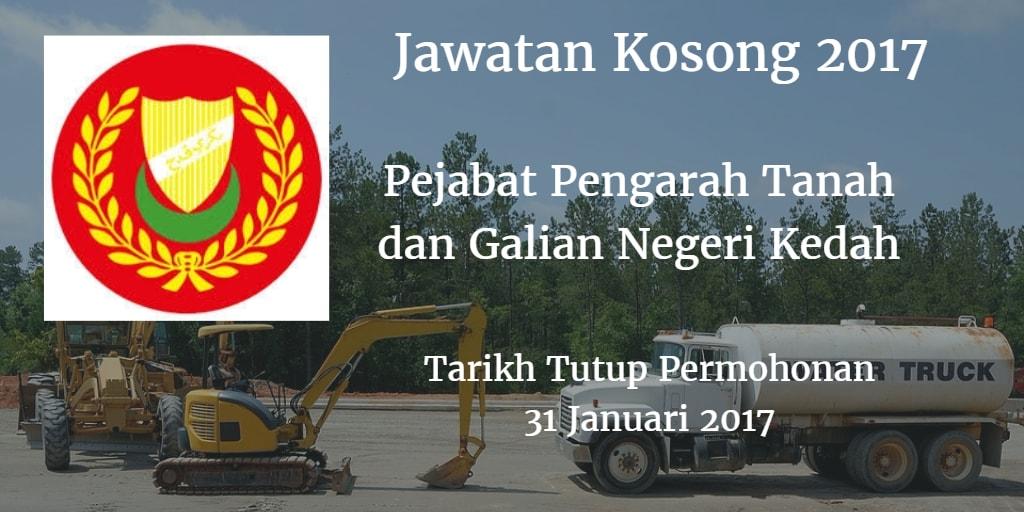 Jawatan Kosong Pejabat Pengarah Tanah dan Galian Negeri Kedah 31 Januari 2017