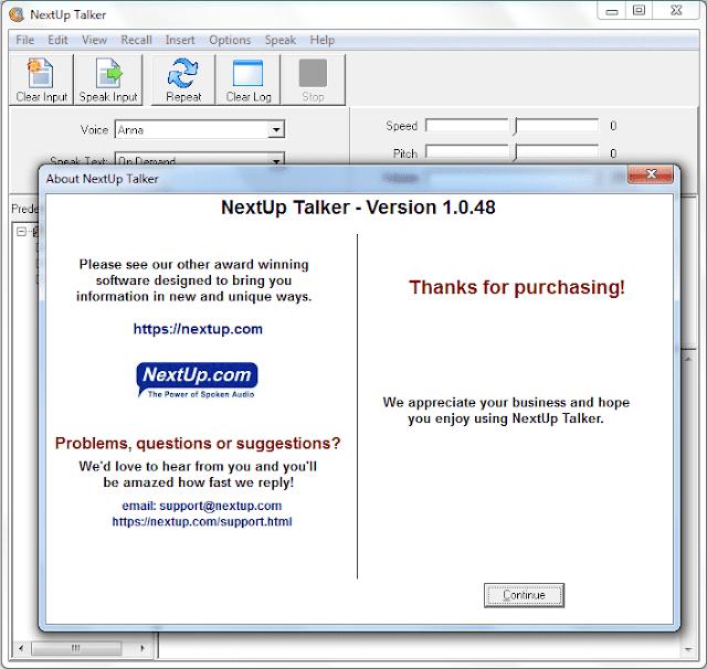 Screenshot NextUp Talker 1.0.48 Full Version