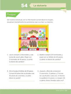 Apoyo Primaria Desafíos matemáticos 3ro Grado Bloque IV Lección 54 La dulcería