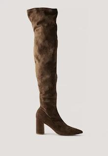 Дамски Ботуши от еко велур, над коляното - Na - Kd