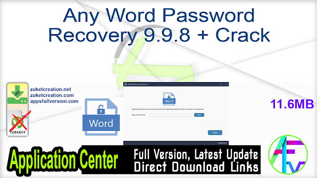 Any Word Password Recovery 9.9.8 + Crack