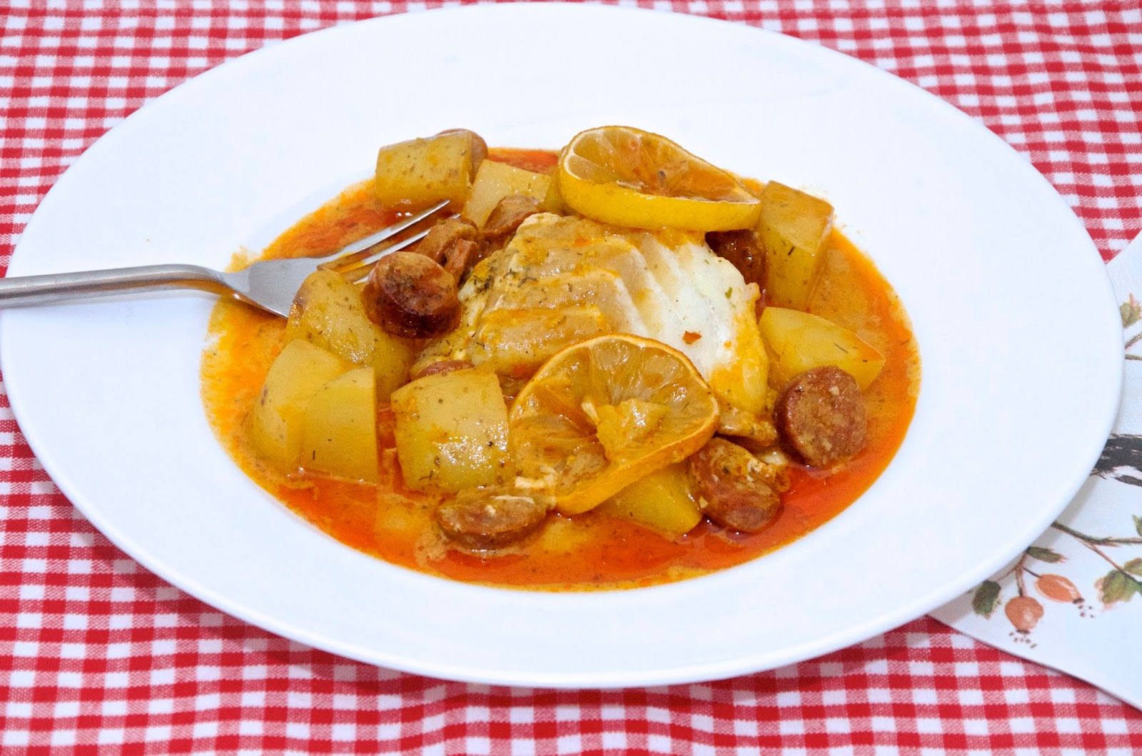 cod and chorizo stew with lemon and potatoes